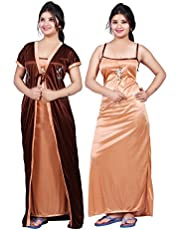 Bailey sells Embroidery Printed Women's Satin Night Gown/Night Dress/Nighty with Robe Gown 2Pc Nightwear Set Free Size Brown