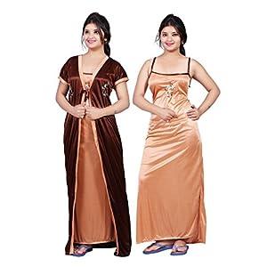 64ad79aa4b Sale! Bailey Women s Satin Combo Of Night Dress (Bailey0151 Brown Free ...