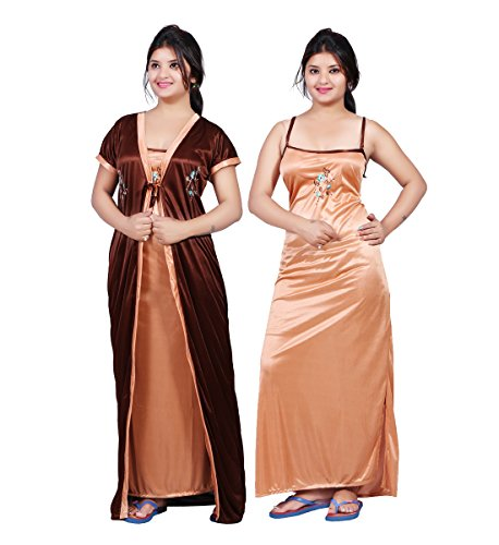 TRUNDZ Fancy Satin Nighty Full Length | Night Wear| Sleep Wear For Women |Night Gown For Women