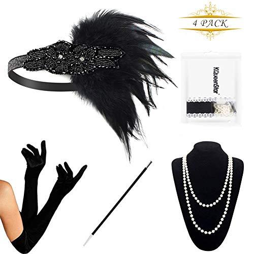 KQueenStar 1920s Damen Accessoires Set Haarschmuck Halskette Handschuhe Zigarettenhalter Stirnband 20er Jahre 1920s Charleston Gatsby Retro Stil Kostüm Ball (4PCS-D)