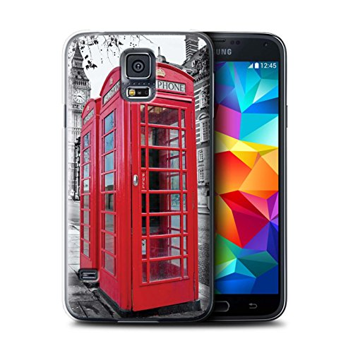 Stuff4® Hülle/Hülle für Samsung Galaxy S5 Mini/Red Phone Box Muster/London England Kollektion (Für Active Galaxy S5 Skin)