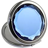 Kolight Mini Cosmetic Metal Portable Fold Pocket Women Girls Makeup Mirror Double Sides (One Is Normal,Another Is Magnifying) (Blue)