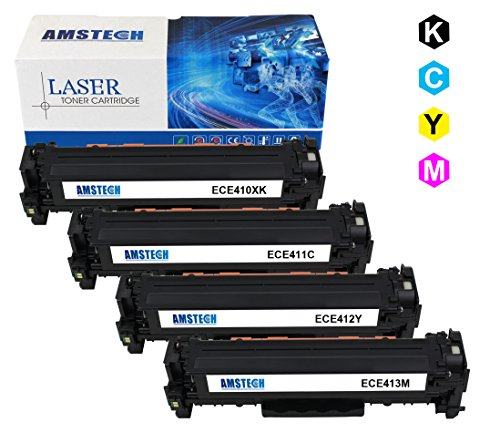 4 Pack Amstech compatible toner CE410X CE411A CE412A CE413A Cartridge toner replacement per HP LaserJet Pro 300 Color M351a MFP M375nw, LaserJet Pro 400 Color M451 series MFP M475 series Standard Yield (1 CE410X Nero, 1 CE411A Blu, 1 CE412A Giallow, 1 CE413A Magenta, Nero-4000 Pagine, Color-2600 Pagine)