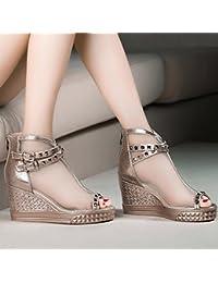 AJUNR-Zapatos De Mujer De Moda Monte El Nuevo Pendiente Con Sandalias Y Flip-Flops Hilados Neto Zapatos Boca De Pescado Bizcocho High-Heeled Zapatos Zapatos Gruesos Estudiantes Mujeres Salvajes Zapatos Oro 35