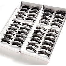 20 paire faux cils dense long cil noir maquillage yeux eyelashes
