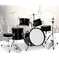 Mecor Black Full Size 5 Piece Complete children Drum Set Cymbals with Stand,Hi-Hat,Drum Stool
