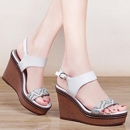 GTVERNH-white 7.5cm sandali sexy femminile estate pendio con i tacchi alti spesso in basso a bocca di pesce una rozza con match femminile le scarpe,37 Thirty-six