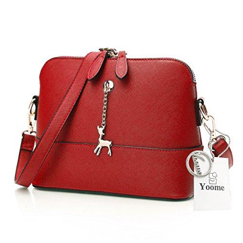 Yoome Cross Pattern Little Cervo Ciondolo Retro Trucco Sacchetto Borsa Medio Sacchetto Borsa in pelle - Navy Rosso