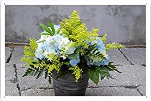 Metallo Poster Targa in metallo Piastra Flower Tin Sign Mimosa Hydrangea Bouquet Bucket Asphalt 62917 Retro Vintage parete Décor by hamgaacaan (20x30cm)