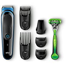 Braun MGK3040 - Set de afeitado multifunción: recortadora de pelo y barba 7 en 1 para hombre y cuchilla Gillette para cuerpo
