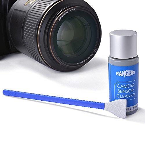 Rangers 12-teiliges APS-C Sensor Set trockene Reinigungstupfer und 15 ml alkoholfreie Reinigungslösung für DSLR CCD CMOS Digital Kamera, Objektive, Gläser. Vakuumverpackung, fusselfreies steriles Gewebe, ideal für das Absorbieren und Beseitigen von unsichtbaren Partikeln und Flecken