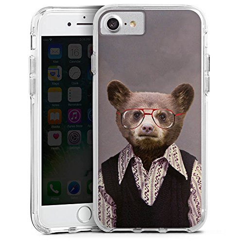 Apple iPhone 7 Bumper Hülle Bumper Case Glitzer Hülle Benji Bear Bear Baer Bumper Case transparent