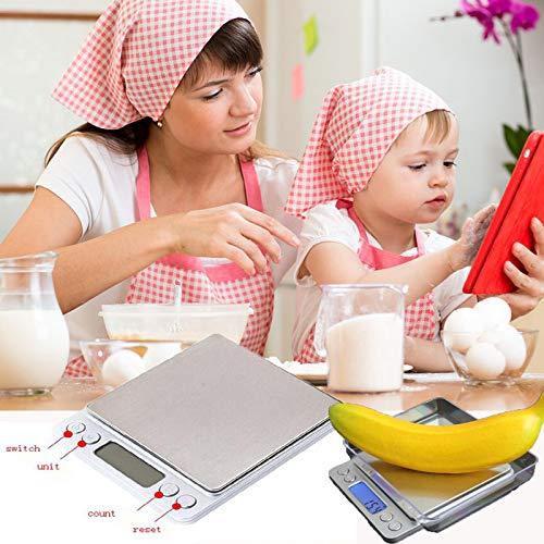 Dkings Digitale Küche Skala,3000g 0,1 g Taschen-Küchenwaage, Mini-Lebensmittel-Skala, professionelle elektronische Schmuckskala und Heck LCD-Display, multifunktionale elektronische Skala Waage Skala
