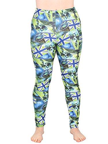 Leggins Damen Leggings leggings mit Muster bunt schwarz weiß elastisch 455 lang ( 6 / L/XL ) - 2