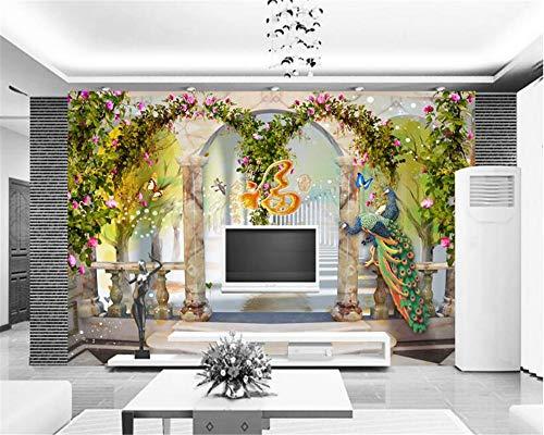 MuralXW Fototapete Personalisierte Wohnkultur Tapete Pfau pastoralen Stil festen Hintergrund Wandmalerei Papier peint-400x280cm