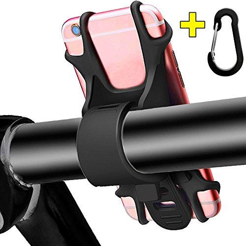 Fahrrad Handyhalterung, Universal Silikon Fahrradhalterung Bruchfestes Rutschfestes für alle Lenker, Einstellbar Motorrad Smartphone Handyhalter Fahrradhalter für Telefone und Geräte mit 4-6 Zoll (Schwarz)