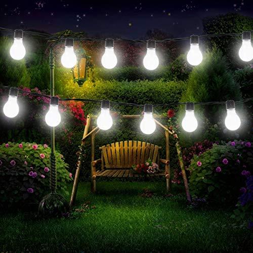 Solar Glühbirne Leuchtende Garten,KINGCOO Wasserdicht 8 Modus 15.7FT 20led Klare Birnen Globe Dekorative Solarlichterketten für Außenbereich Hochzeit Party Festival Weihnachtsbeleuchtung (Weiß)
