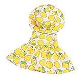 MagiDeal Hübsche Puppen Kleid Prinzessin Sommerkleid mit Hut Bekleidung für 18'' American Girl Puppe Party Kostüm - Zitrone