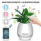 Tecwizz Pot de fleurs musical LED–Lampe musicale tactile pour plante avec haut-parleur sans fil Bluetooth  blanc