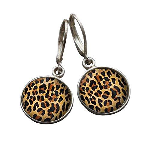 Silber 925Tiger Leopard Print Leverback Baumeln Drop Haken Ohrringe handgefertigt 14mm für Damen und Mädchen -