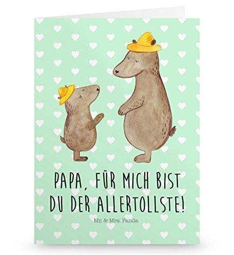 Mr. & Mrs. Panda Grußkarte Bären mit Hut - 100% handmade in Norddeutschland - Paps, Papa, Vatertag, Kinder, Dad, Pappe, Söhne, Family, Einladungskarte, Kind, Karton, Grusskarte