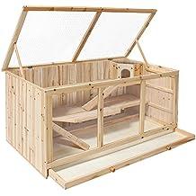 TecTake Jaula XXL madera para roedores animales pequeños hámster ratón rata Conejera