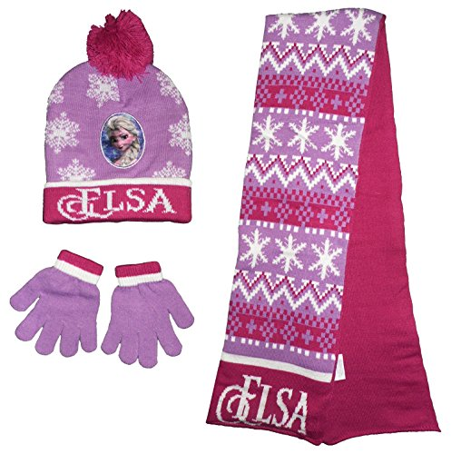 Disney Frozen Elsa Wintermütze Schal Handschuhe Set (52 cm)