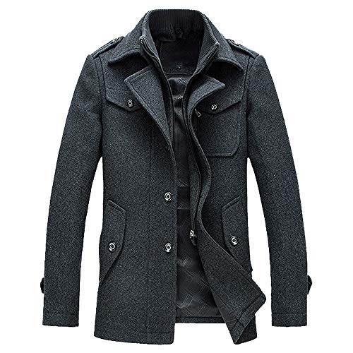 Geili Herren Mantel Wolljacke Lang Umlegekragen Wollmantel Warm Trenchcoat Business Slim Fit Überzieher Windbreaker Modern Männer...