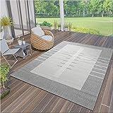 VIMODA Robuster Flachgewebe Teppich In- und Outdoor Tauglich 100% Polypropylen Grau, Maße:120x170...