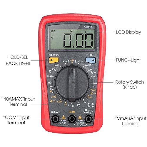 Multímetro digital profesional, Synerky DM33B 2000 Counts Corriente AC Voltaje Resistencia Diodo Prueba de la batería Mini Multímetro Portátil Medidor, Retroiluminación LCD Medidores de medida medida total palma