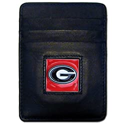 NCAA Georgia Bulldogs Leather Money Clip/Cardholder Wallet