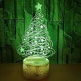 Creativo 3D Albero di Natale Luce Della Notte LED Lampada 7 Cambiamento di Colore Lampada da Tavolo USB Power Interruttore Tattile Giocattoli per Bambini Decor di Natale Regalo di Compleanno
