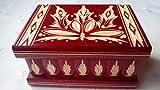 Magie Rätsel Puzzle Geheimfach Schmuckkasten schön Handwerk Handarbeit Holz schatulle Zauber kästen (Rot)