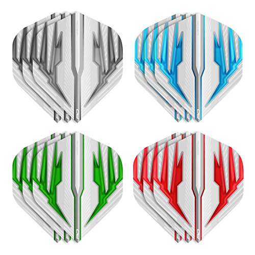 RED DRAGON Hardcore Selection Pack Light Wings Extra Dicke Standard Dart Flights - 4 Sätze pro Packung (12 Flights insgesamt) & RED DRAGON checkout card (Dicke Dart Flights)