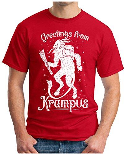 OM3 - GREETINGS-from-KRAMPUS - T-Shirt GEEK, S - 5XL Rot