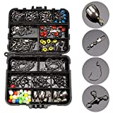 CricTeQleap Angelzubeh?r, 160Pcs Fishing Jig Hook Sinker Swivel Bead Fish Tackle Accessoires Set mit Box