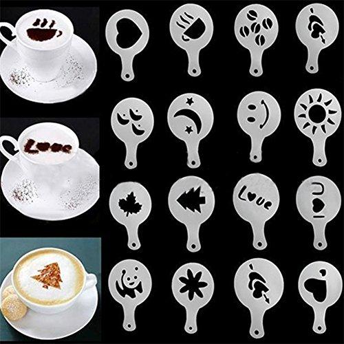 Gemini_mall® Streuer für Puderzucker, Salz, Kakaopulver, Mehl, zum Dekorieren von Kaffees, aus Edelstahl, mit Deckel Cappuccino Coffee Stencils Template -