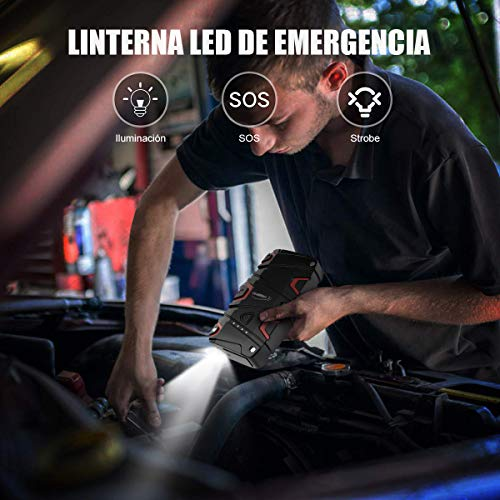 YABER Arrancador de Coches para 7.5L de Gasolina o 6.0L de Diesel Jump Starter con Carga R/ápida QC3.0 con IP68 Impermeable 1200A Arrancador Bater/ía Coche