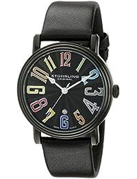 Stuhrling Original 301.33591 - Reloj de cuarzo para hombre, con correa de cuero, color negro