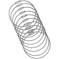 10x Edelstahl-Drahtseil Multifunktionale Männer Schlüsselring Geschenk Silber 35cm - silber, 10cm