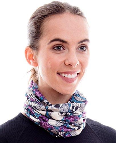 Hilltop Multifunktionstuch. Cooles und warmes Kopf- und Halstuch in modernen aktuellen Farben, Farbe/Design:Totenkopf weiss - lila
