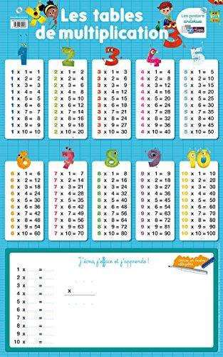 Poster-ardoise - les tables de multiplication par Collectif