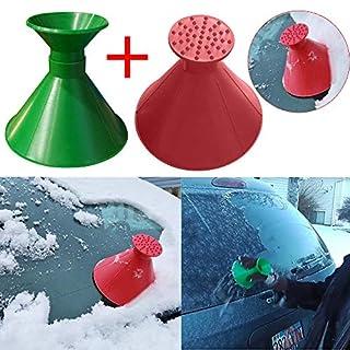 Huhu833 Schneeschaufel Werkzeug, Schnee kratzen runde magische kegelförmige Windschutzscheibe mit Eiskratzer Schneeschaufel Windschild Eiskratzer (Grün + Rot)