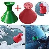 Huhu833 2 Stück Schneeschaufel Werkzeug, Schnee kratzen runde magische kegelförmige Windschutzscheibe mit Eiskratzer Schneeschaufel Windschild Eiskratzer + Trichter (Grün + Rot)