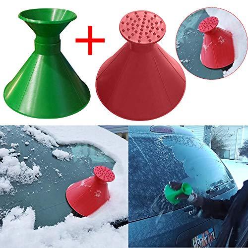 NEEDRA Kratzen Sie EIN rundes magisches kegelförmiges Windschild-Eiskratzer-Schneeschaufelwerkzeug (Rot und Grün)