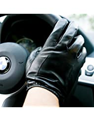 Los guantes calientes guantes y cómoda Guantes de piel de oveja de pantalla Hombres sección delgada - Guantes de cuero de los hombres 's de guantes de cuero más el terciopelo Calor del invierno táctil ( Color : Negro , Tamaño : XL )
