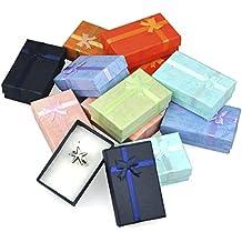 TRIXES Cajas de regalo rectangulares elegantes con lazo para presentación de joyería