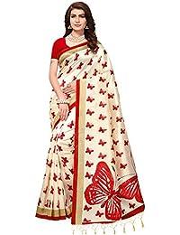 Saree Mall Art Silk Saree For Women (Cream_Sarees Below 500 Rupees_Apha1008_Free Size)