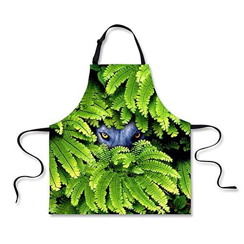 Einfach Dschungel Kostüm - Küchenschürze Grüner Dschungel 3D, der lustiges kreatives BBQ kocht schürzen für Mann-Frauen-Damen-Kellnerin-Mädchen-Küchen-Koch und waschendes Schutzblech Zum Backen Garten Restaurant BBQ Für Männer