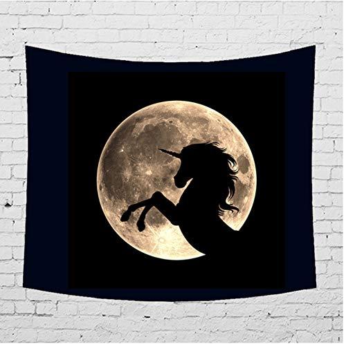 ignbaa Night Sky Moon Tapisserie Wandbehang Meerjungfrau Wolf Einhorn Shadow Hippie Home Decor Mandala Wandbehang Teppich Stoff-150CM×130CM (Sky Spielen Night Karten)